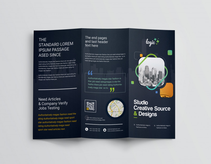 Tri Fold Menu Template Photoshop Awesome Logic Professional Corporate Tri Fold Brochure Template