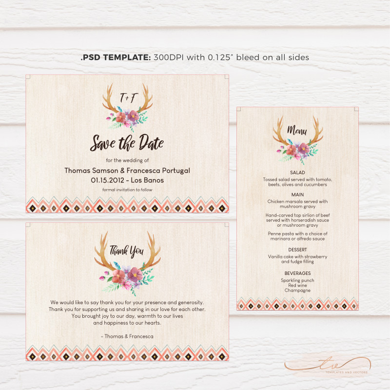 Wedding Menu Choice Template Awesome Rustic Floral Antler Wedding Invitation Suite Tvw189