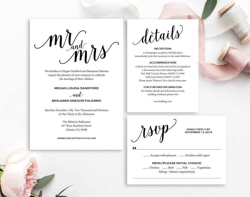 Wedding Menu Choice Template Unique Invite Your Family And Friends To Your Wedding With This
