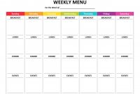 Weekly Menu Template Word Unique Weekly Meal Planner Template Word Editable Free Dinner Color