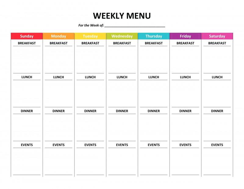 Weekly Menu Template Word Unique Weekly Meal Planner Template Word Editable Free Dinner Color