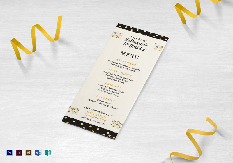 Word Document Menu Template New Birthday Dinner Party Menu Template